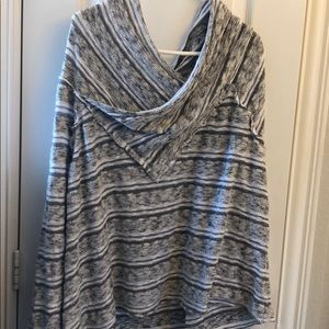 Long sleeve slouch off shoulder sweater